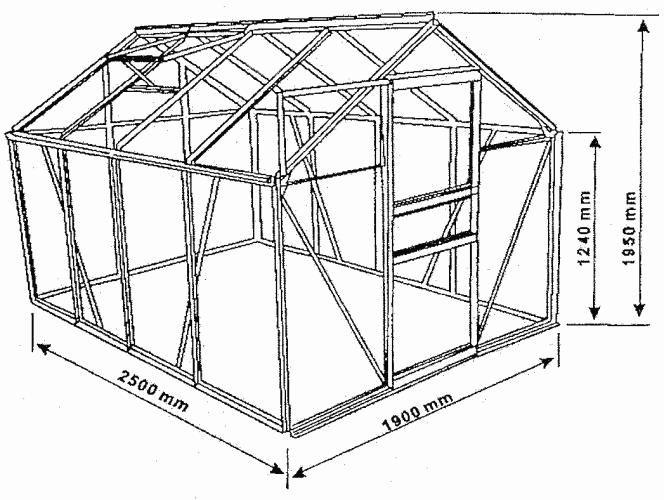 Skleník Garth 250 cm x 190 cm x 195 cm x 4 mm