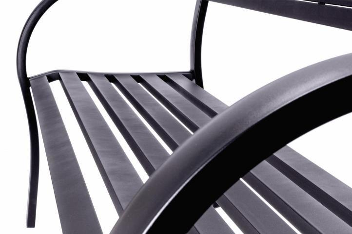Zahradní 3-místná hliníková lavice – 128 x 50 x 87 cm