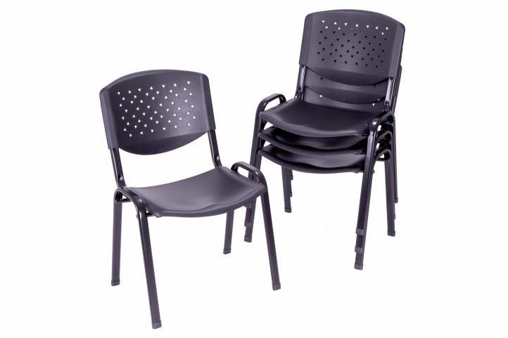 Sada stohovatelných židlí - 4 ks, černá