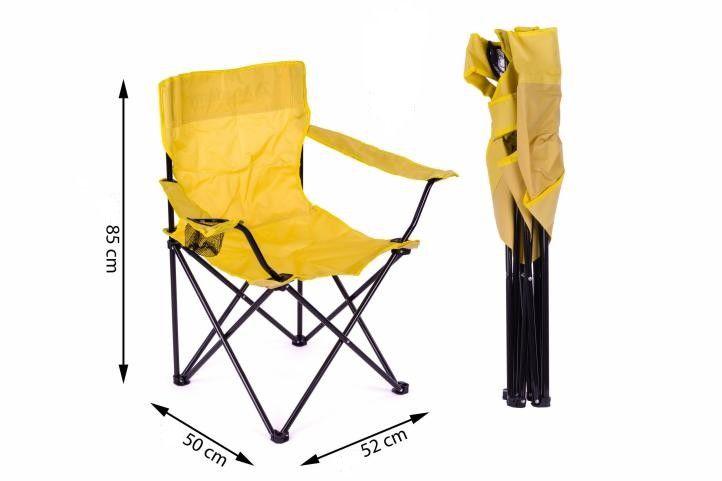 Sada skládacích kempinkových židlí s opěrkou, držákem