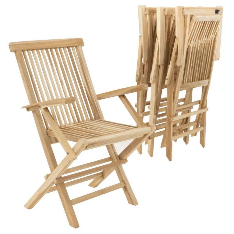 Sada 4 kusů zahradní židle DIVERO skládací – týkové dřevo