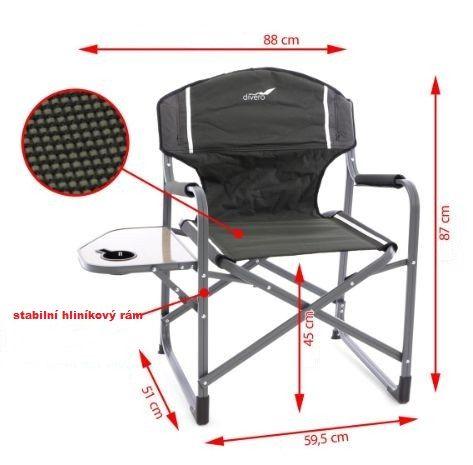 Kempinková rozkládací židle se stolkem a držákem nápojů