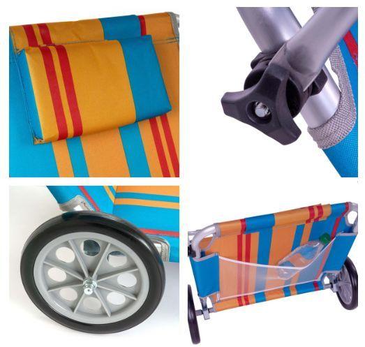 Zahradní skládací lehátko s kolečky a stříškou – barevné