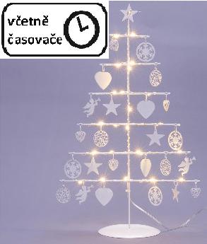 Vánoční kovový dekorační strom - bílý, 25 LED, teple bílá