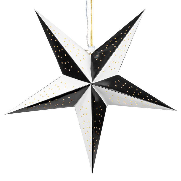 Vánoční dekorace hvězda s časovačem - 10 LED, černo-bílá
