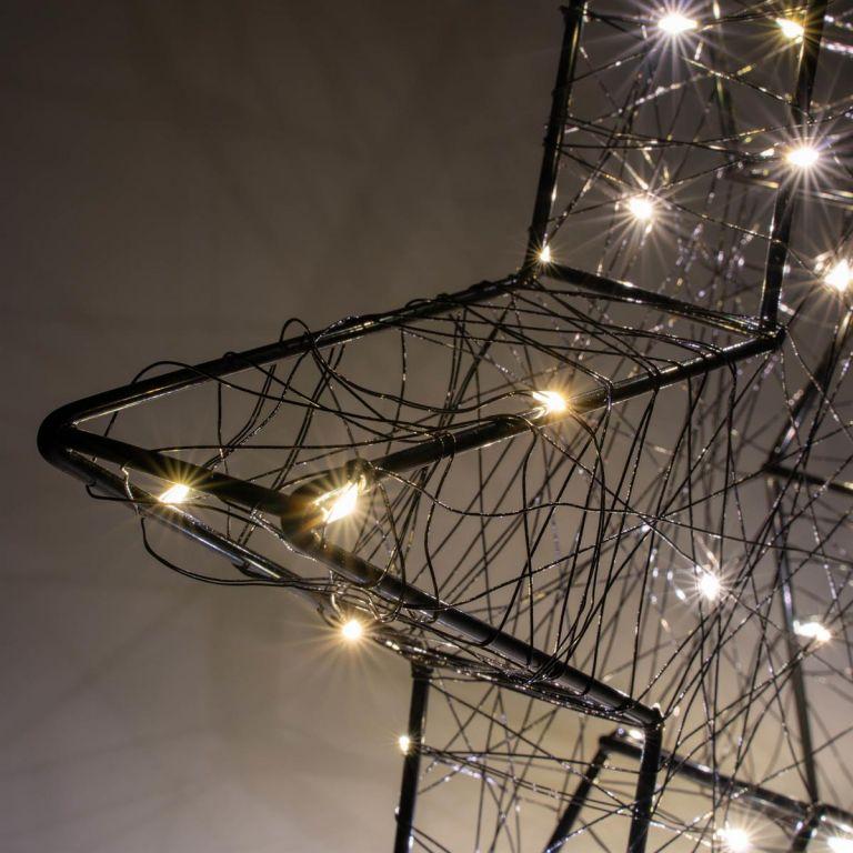 Vánoční kovová hvězda s 3D efektem - černá, 25 LED diod