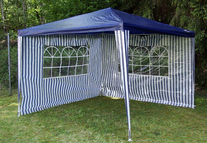 Zahradní párty stan - modrý 3 x 3 m + 2 boční stěny