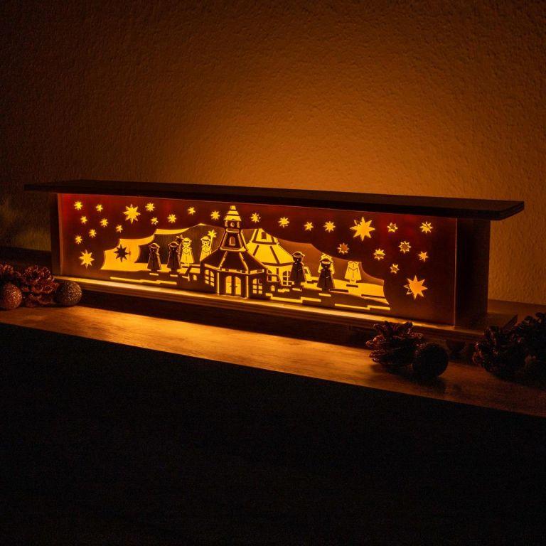 Vánoční dřevěná dekorace, 10 LED