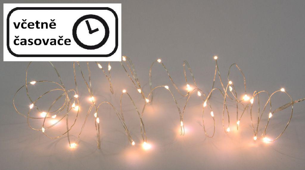 LED osvětlení stříbrný drát - teple bílý, 20 LED
