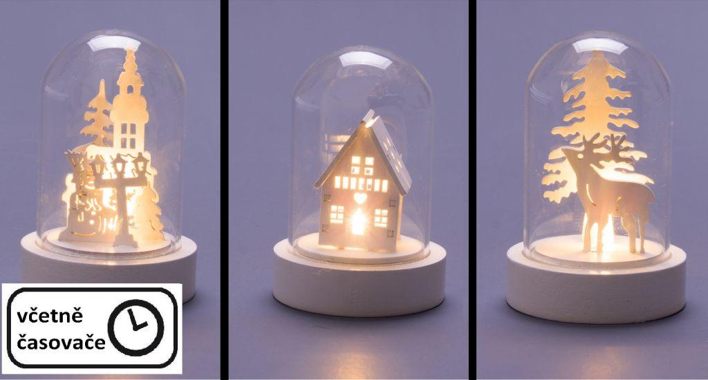 Vánoční svítící dekorace - skleněná kopule, 3ks