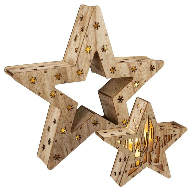 Sada 2 dřevěných vánočních hvězd – 15 LED