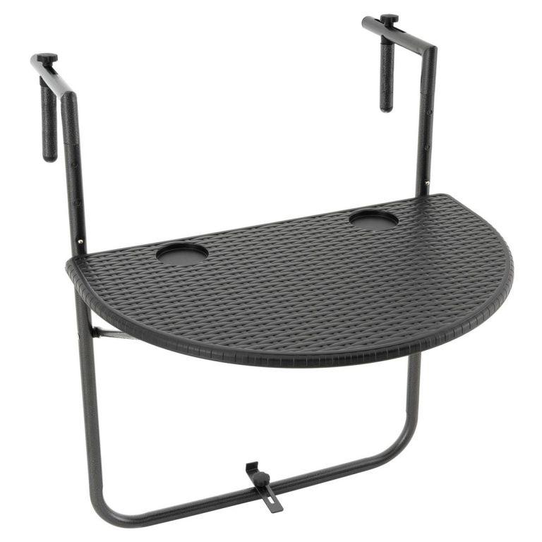 Závěsný sklopný stolek ratanového vzhledu - černý