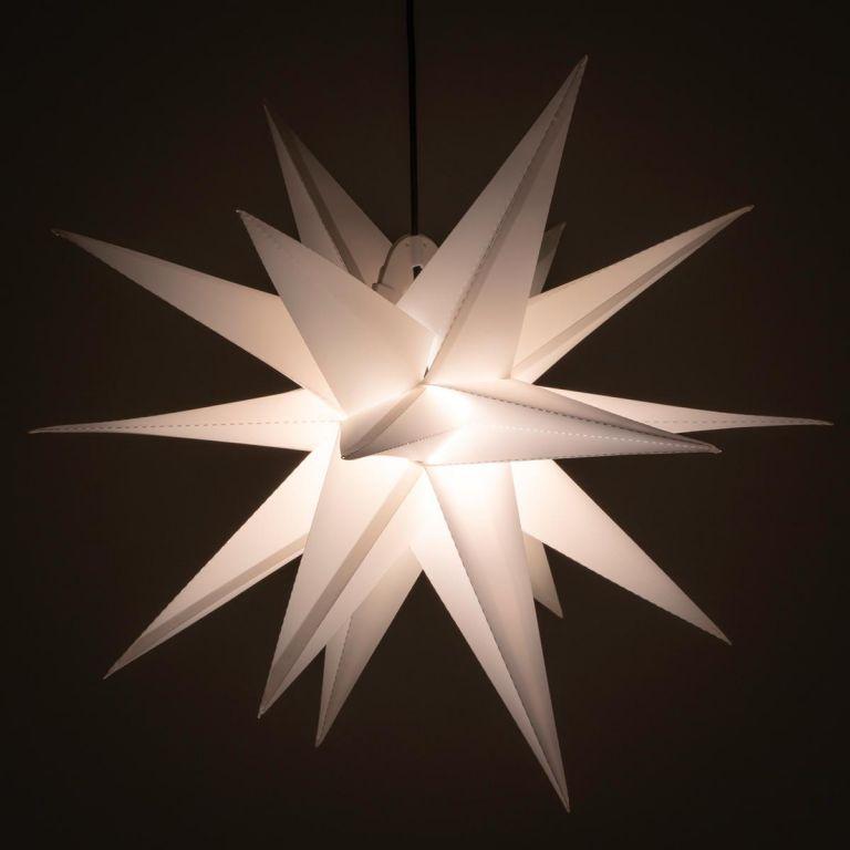Vánoční dekorace - hvězda s časovačem 1 LED, 55 cm, bílá