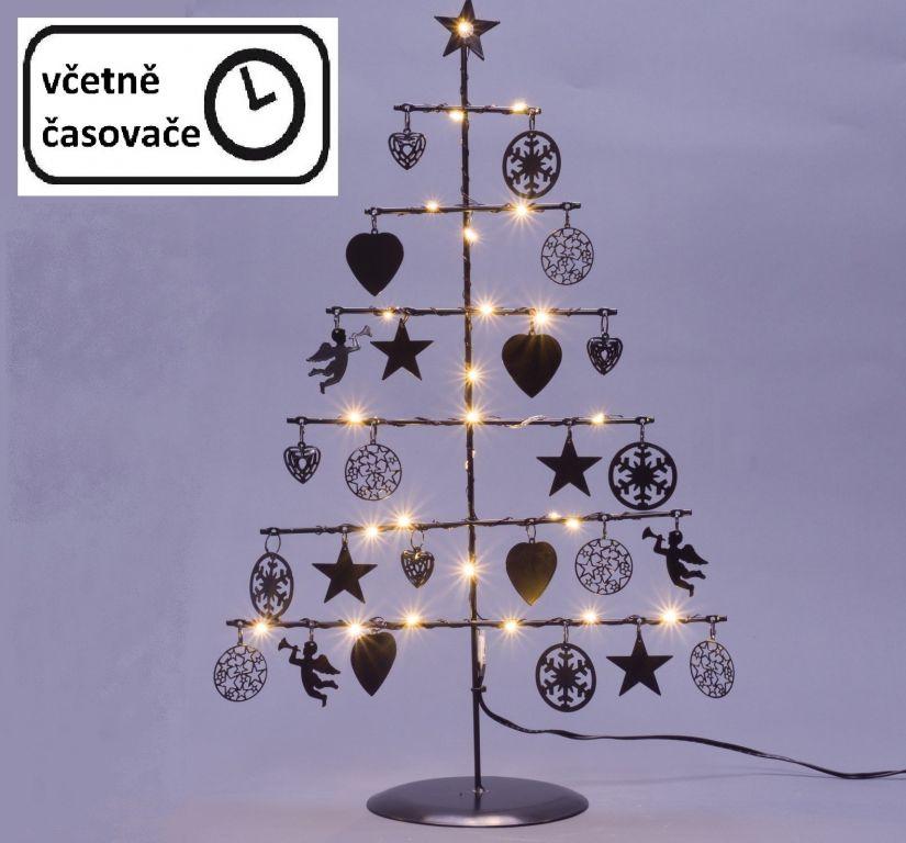 Vánoční kovový dekorační strom – černý, 25 LED, teple bílá