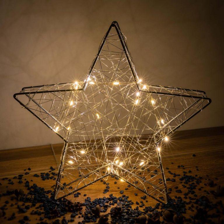 Vánoční kovová hvězda s 3D efektem - stříbrná, 25 LED diod