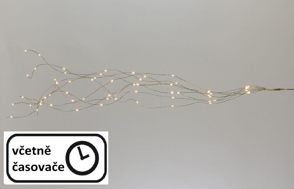 LED osvětlení stříbrný drát - teple bílý, 64 LED