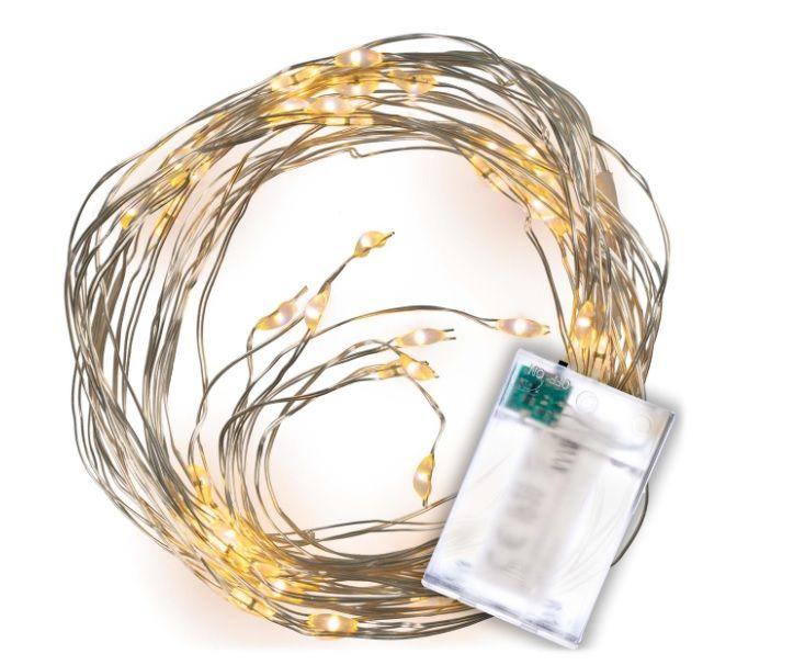 Nexos 67173 LED osvětlení stříbrný drát - teple bílý, 64 LED