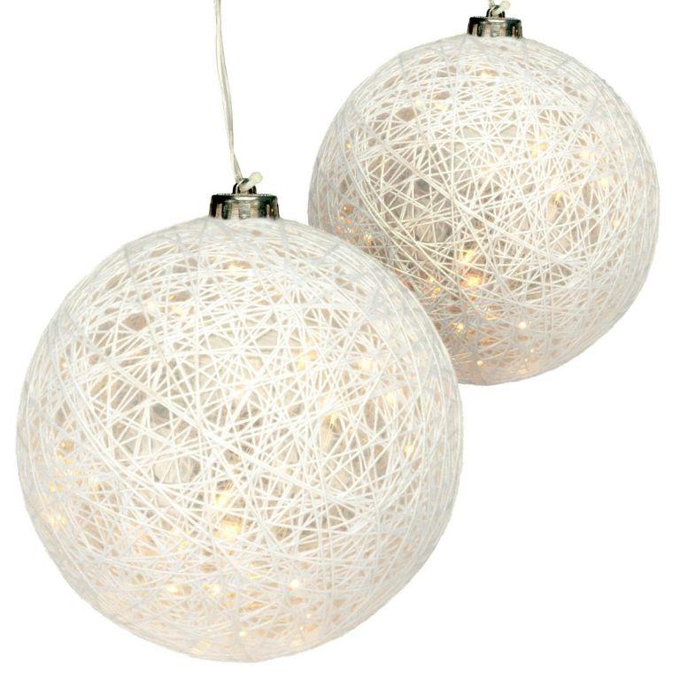 Sada 2 dekorovaných koulí - 40 LED, teplá bílá