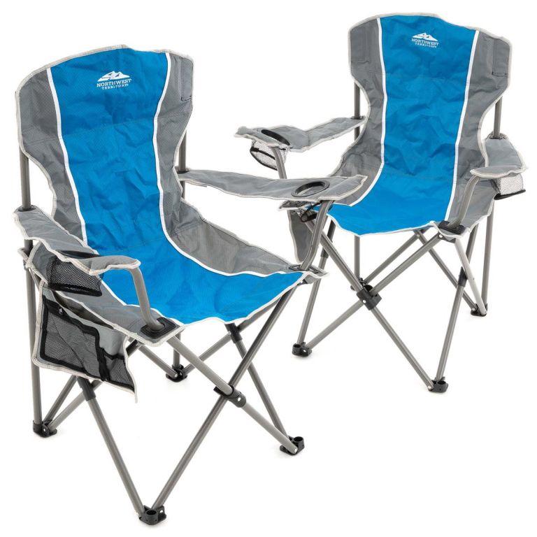 Sada 2 ks skládacích židlí - šedá/modrá