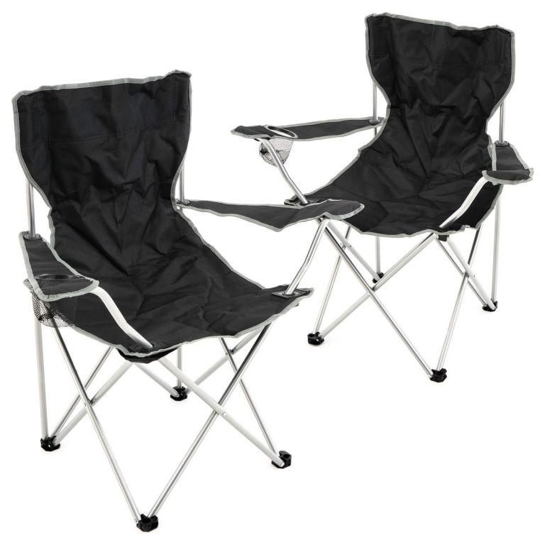 Sada 2 ks skládacích židlí – černá