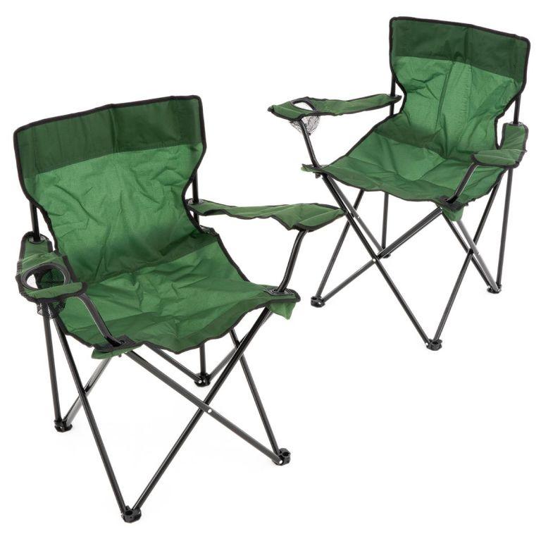 Sada 2 ks skládacích židlí - zelené