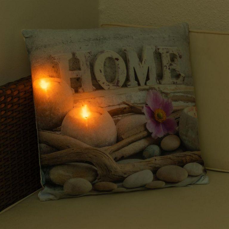 Dekorativní polštář s LED osvětlením Domov - 38 x 38 cm