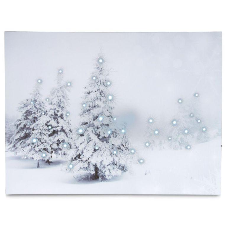 Nástěnná malba Zimní les - 40 LED,  30 x 40 cm