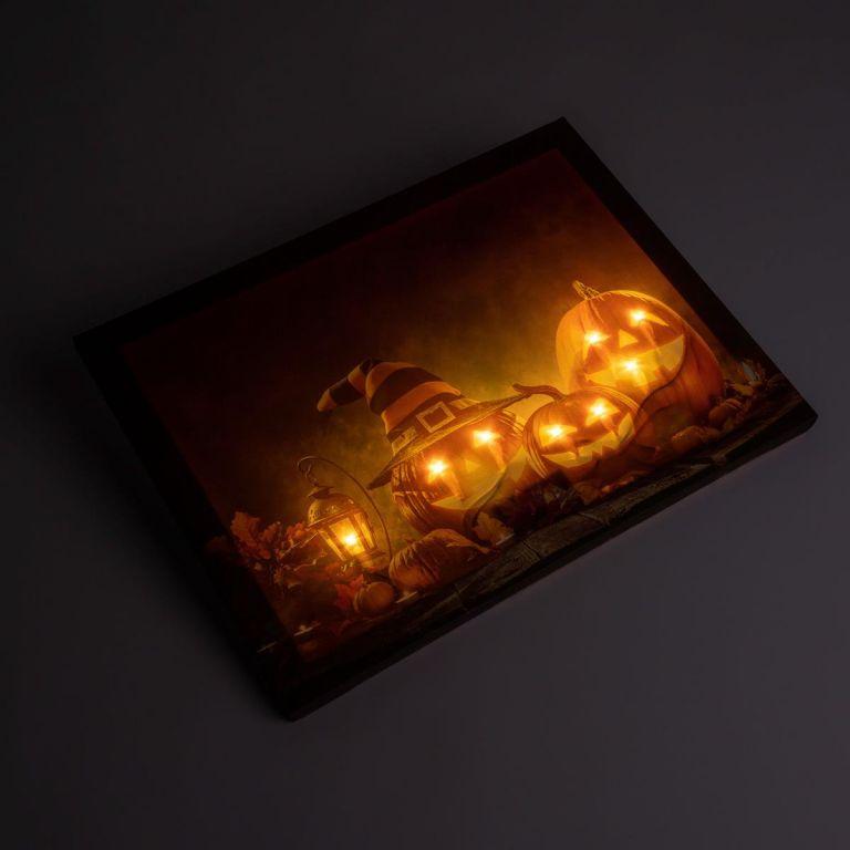Nástěnná malba Happy Halloween – 8 LED, 30 x 40 cm
