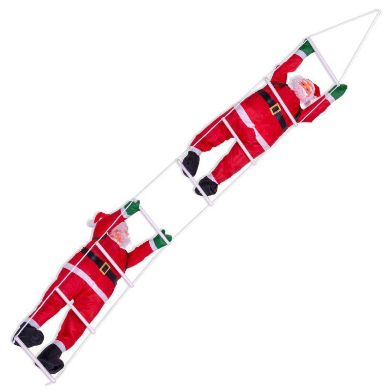 Vánoční dekorace - Santa Clausové na žebříku, 210 cm