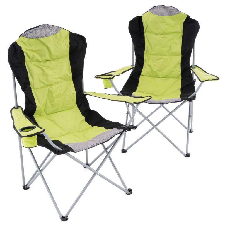 Sada 2 skládacích kempingových židlí - zelené