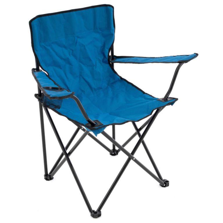 Skládací kempingová židle s držákem nápojů – modrá