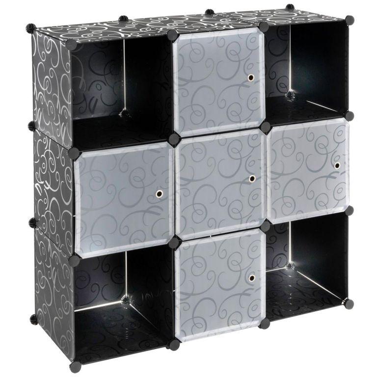 Úsporný zásuvný plastový regál - 108 x 110 x 37 cm, černý