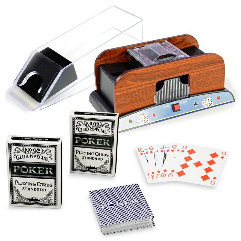 Pokerová sada - míchačka karet, podavačka, karty
