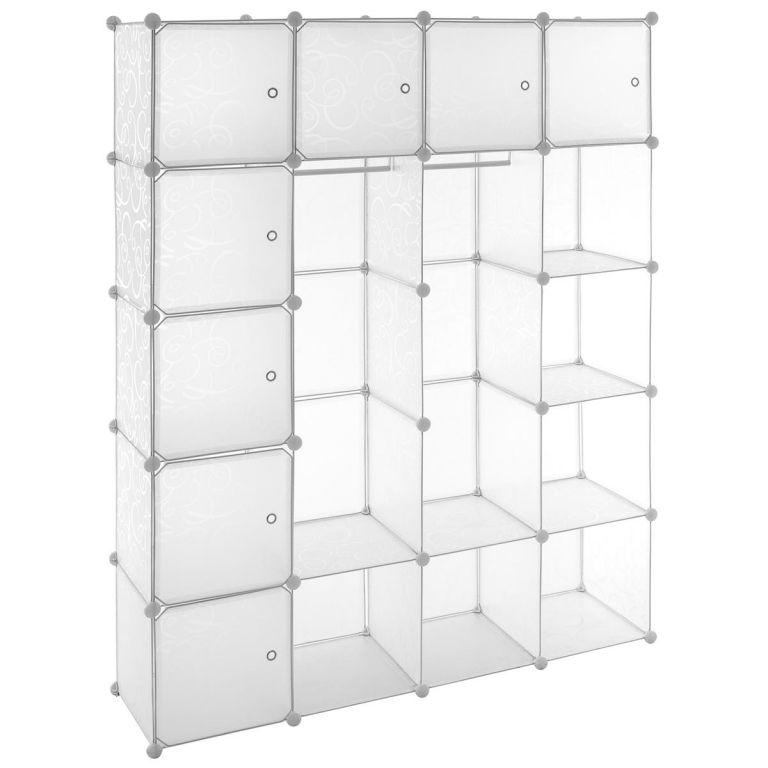 Úsporný zásuvný regál – 178 x 145 x 37 cm, transparentní