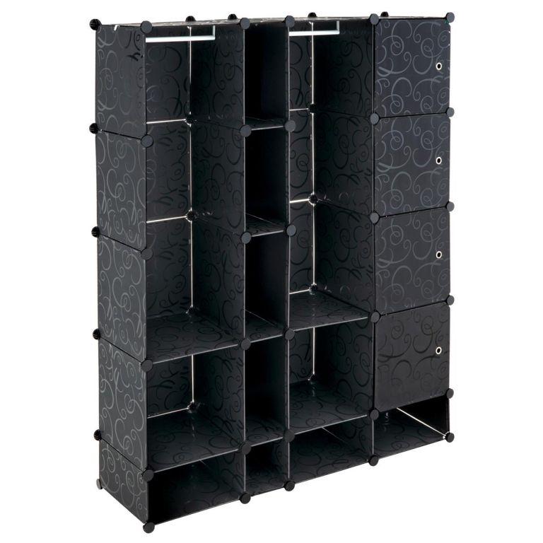 Úsporný zásuvný plastový regál – 161 x 127 x 37 cm, černý