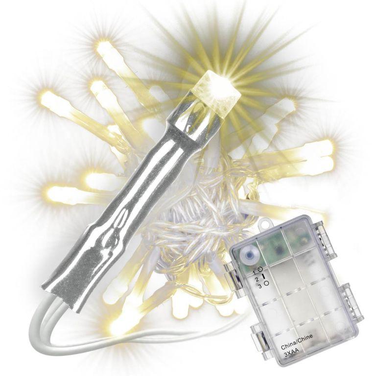 Sada 3 ks světelných řetězů s časovačem - 30 LED, teplá bílá