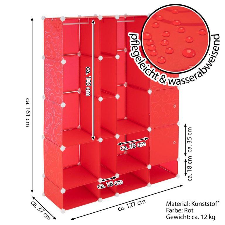 Úsporný zásuvný regál - 161 x 127 x 37 cm, červený