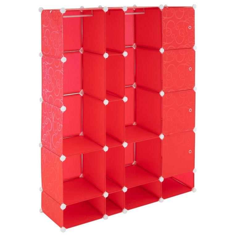 Úsporný zásuvný regál – 161 x 127 x 37 cm, červený