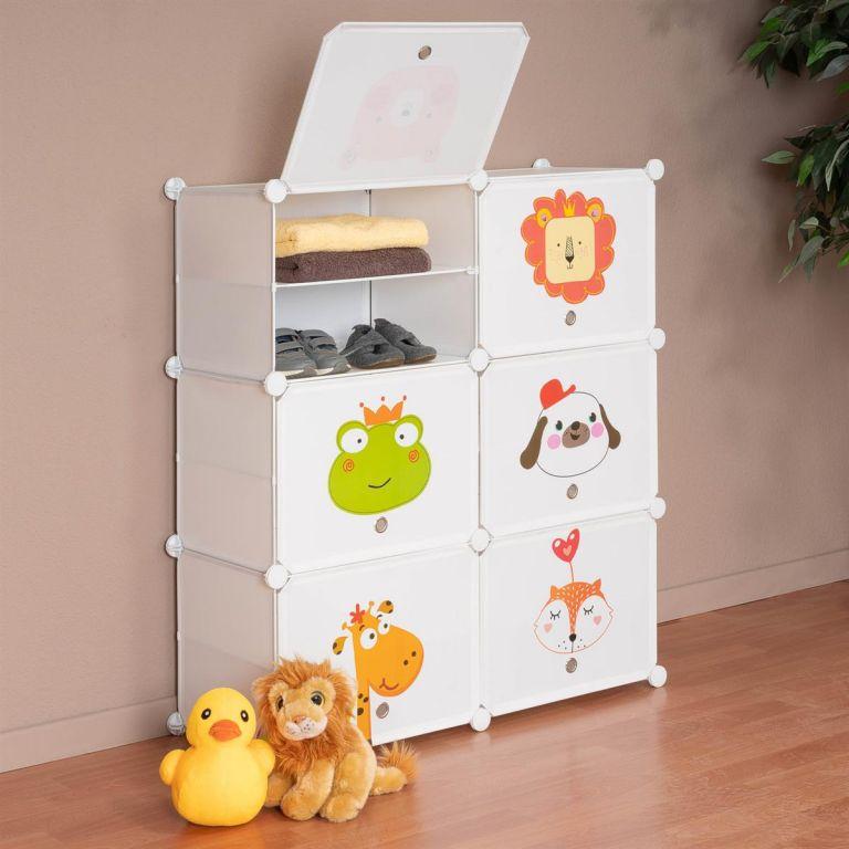 Dětský regál, bílý s dveřmi DIY