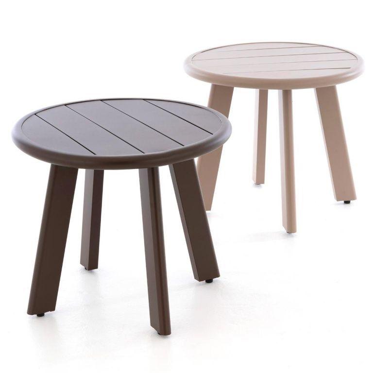 Kulatý hliníkový stolek, tmavě hnědý