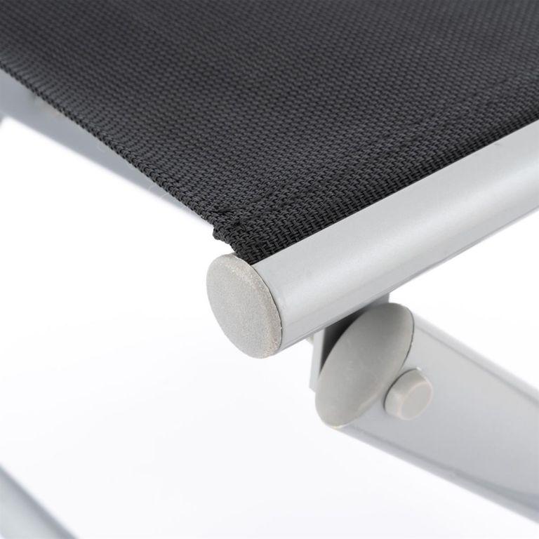Sklopná hliníková stolička – černá, světle šedý rám