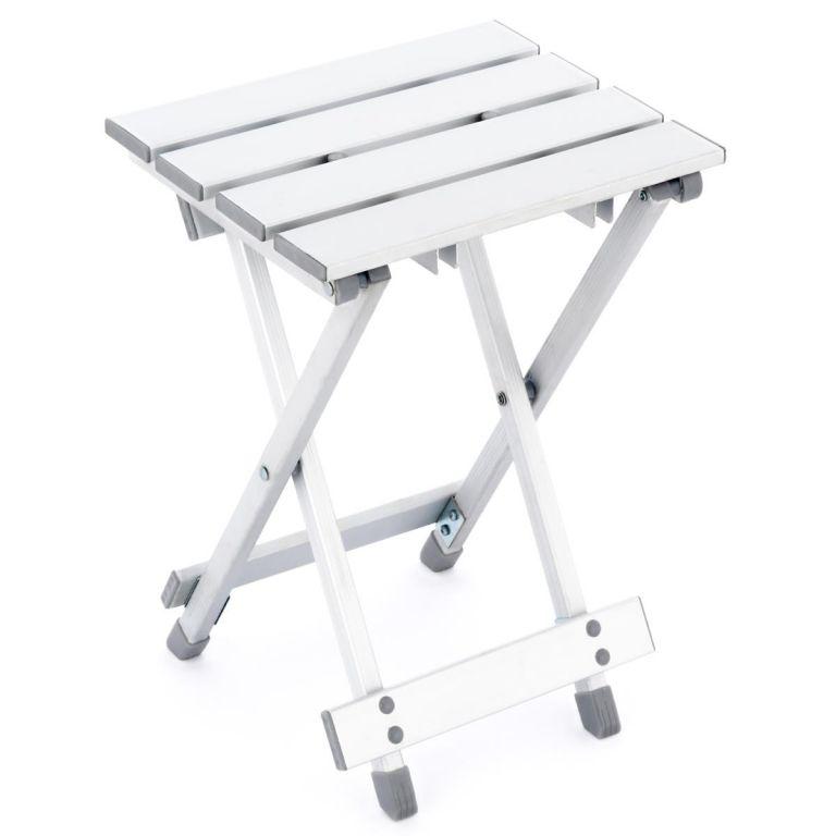 Sklopná hliníková stolička - světle šedá