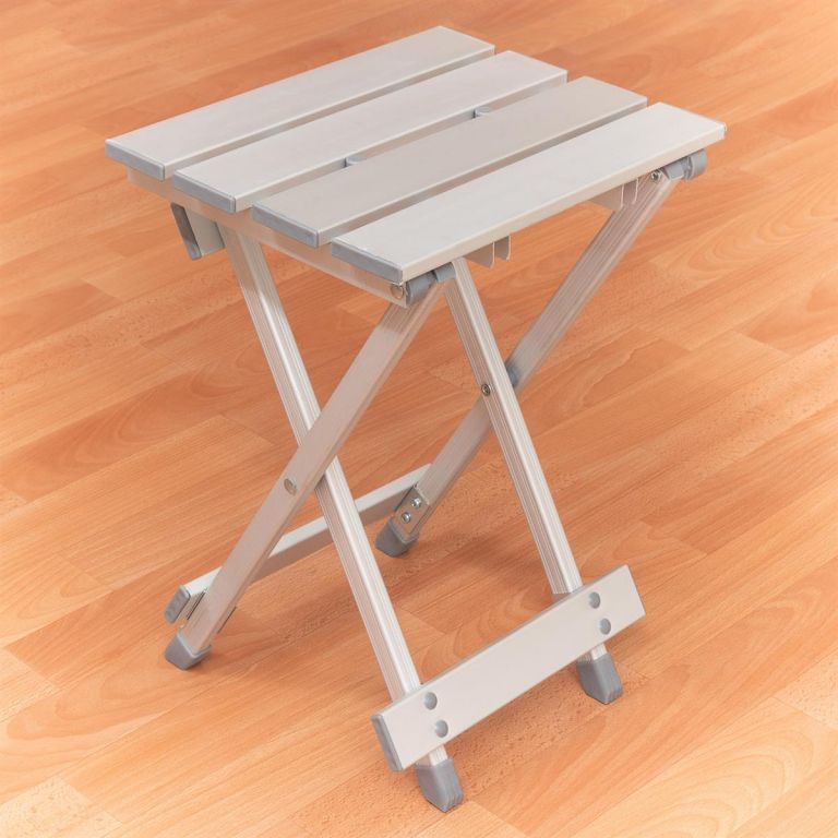 Sklopná hliníková stolička – světle šedá