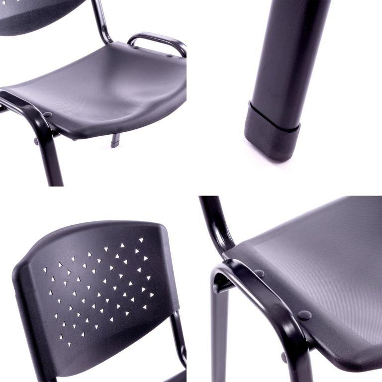 Sada stohovatelných židlí, černá – 8 ks