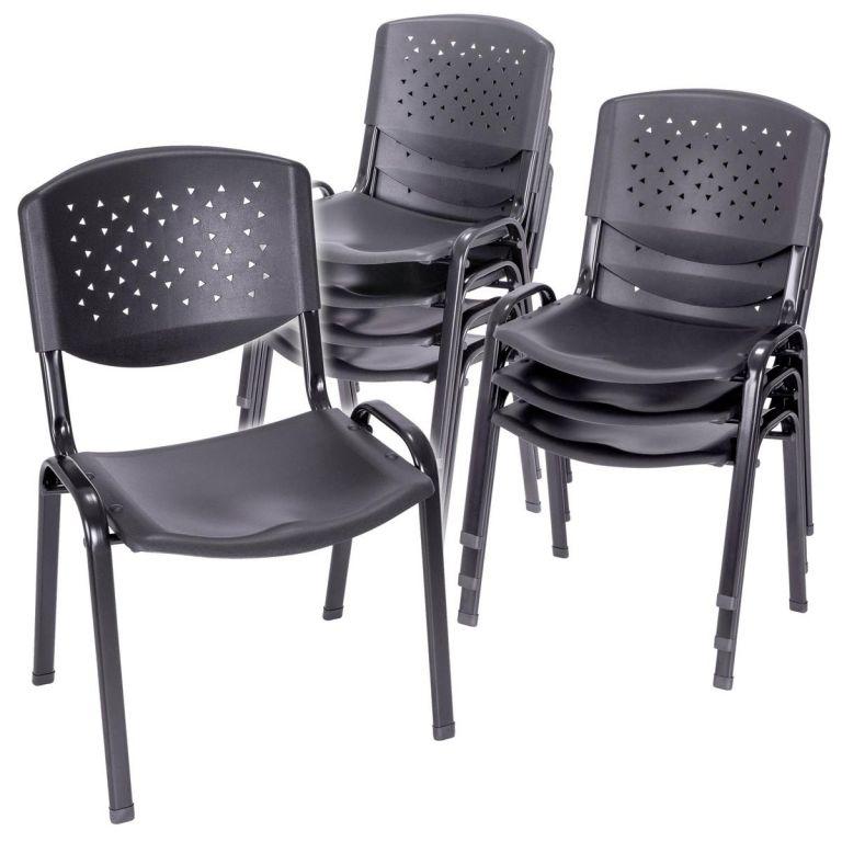 Sada stohovatelných židlí, černá - 8 ks