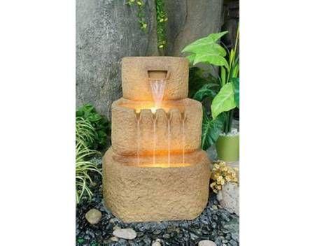 Zahradní kašna - fontána s osvětlením - 3 koryta