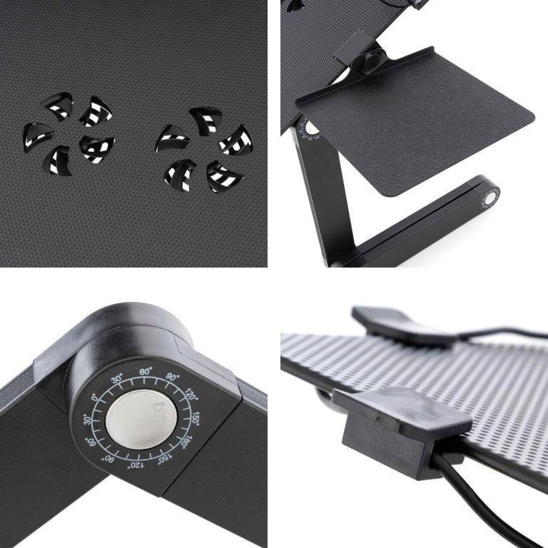 Notebookový stůl s USB –  42 x 28 cm, chlazení