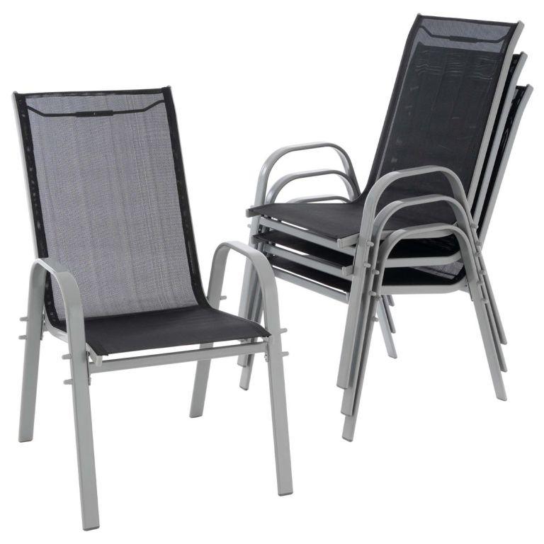 Sada 4 ks stohovatelných židlí, černé, šedý rám