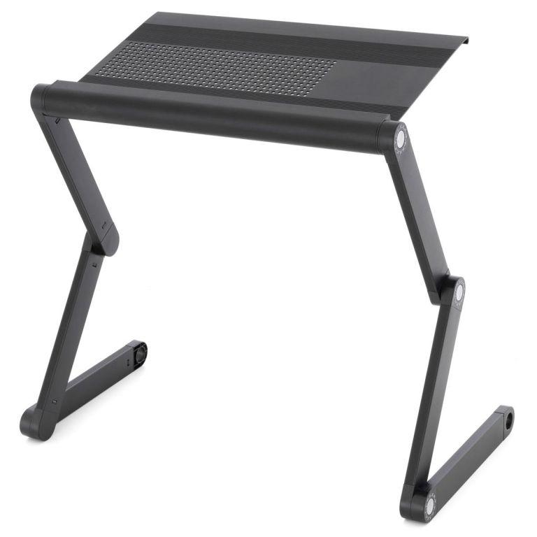 Stolek na laptop nastavitelný s větracími štěrbinami – černý