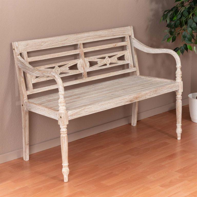 DIVERO 2-místná zahradní lavice – 119 cm, teak, bílá shabby